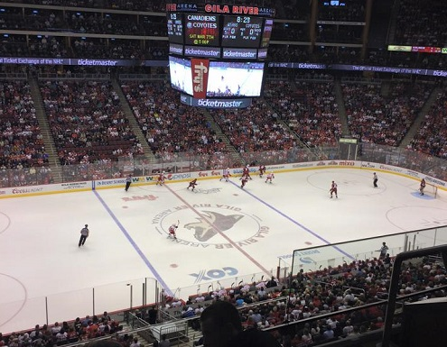 View from the upper level seats at Gila River Arena during an Arizona Coyotes game.