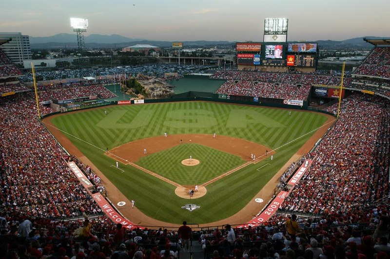 Photo of Angel Stadium of Anaheim during a Los Angeles Angels game.