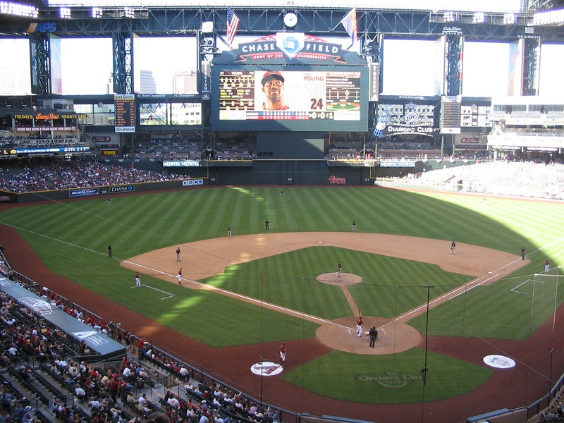 Photo of the field at Chase Field during an Arizona Diamondbacks home game.