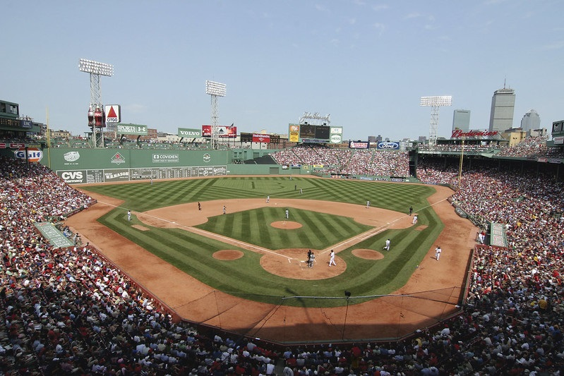 Photo of Fenway Park during a Boston Red Sox home game.