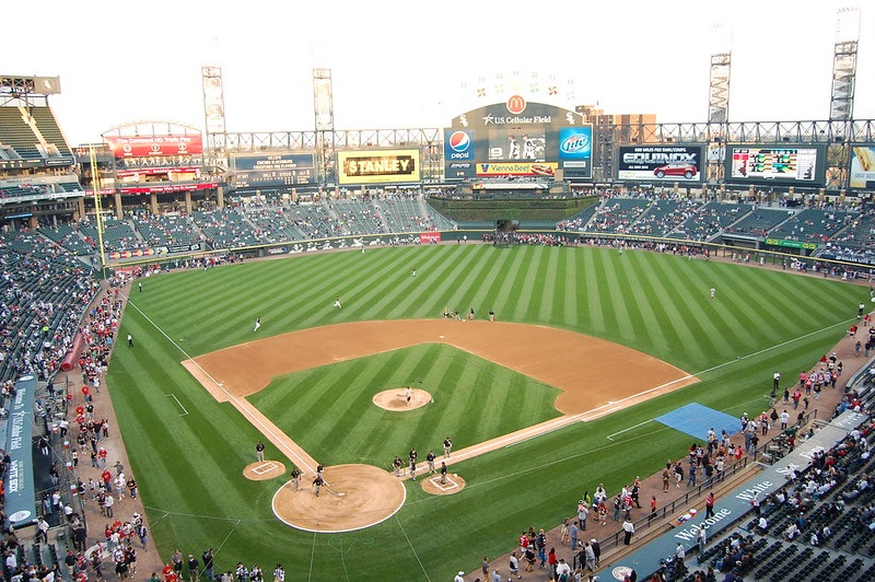 Photo of the field at Guaranteed Rate Field. Home of the Chicago White Sox.