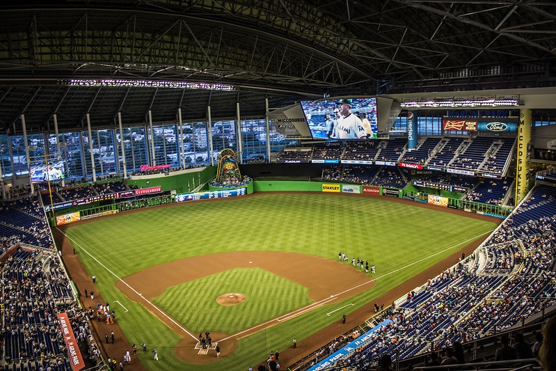 Photo of the playing field at Marlins Park, home of the Miami Marlins.