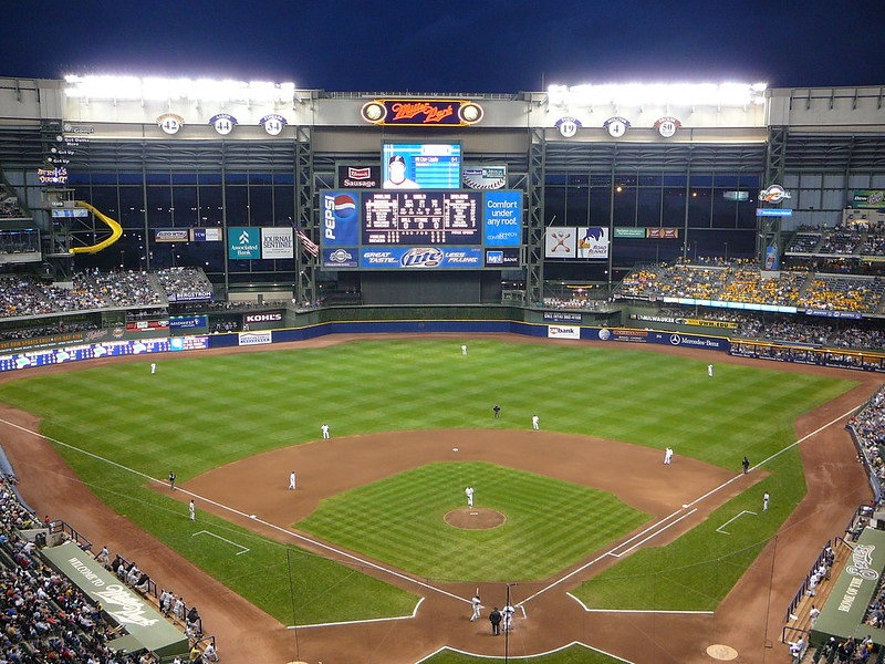 Photo of the playing field at Miller Park, home of the Milwaukee Brewers.