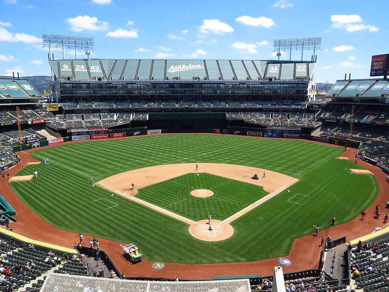 Photo of the playing field at Oakland Coliseum, home of the Oakland Athletics.