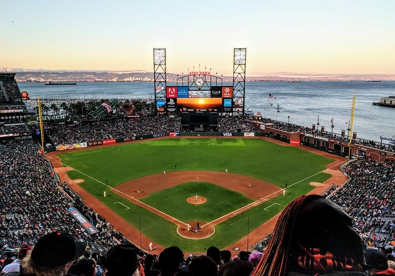 Photo of the playing field at Oracle Park during a San Francisco Giants game.