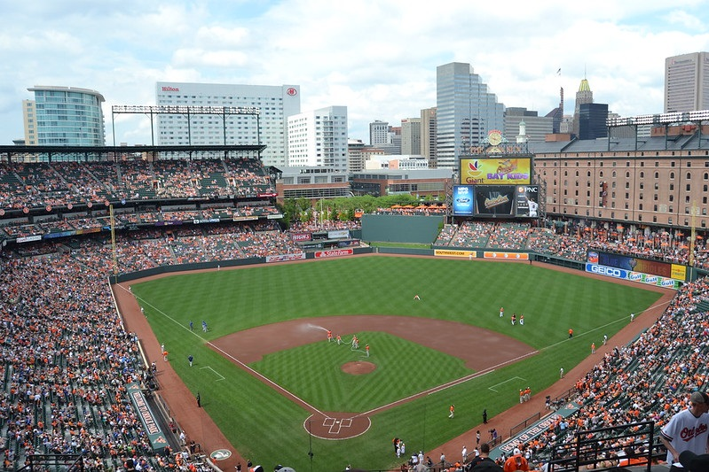 Photo of Oriole Park at Camden Yards, home of the Baltimore Orioles.