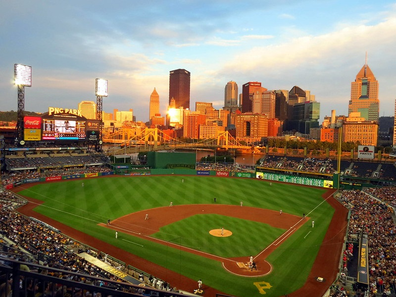 Photo of the playing field at PNC Park during a Pittsburgh Pirates game.