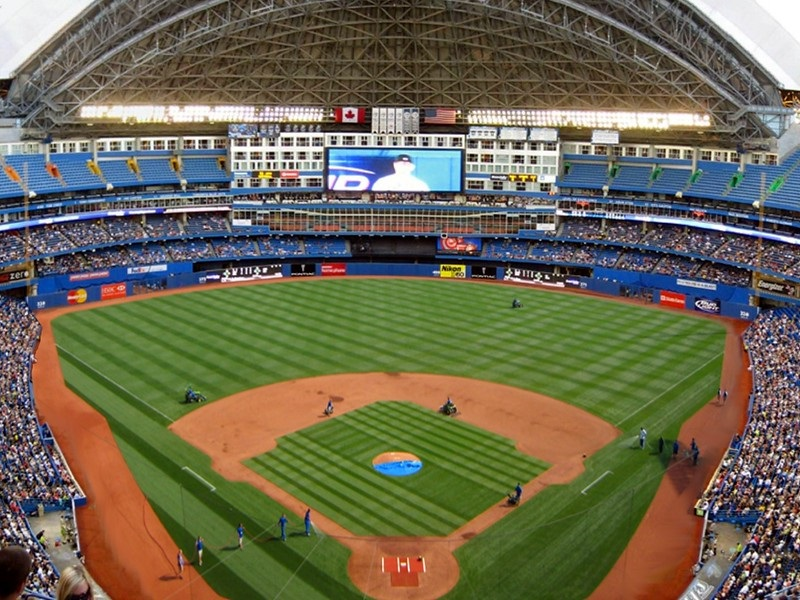 Photo of the playing field at the Rogers Centre, home of the Toronto Blue Jays.
