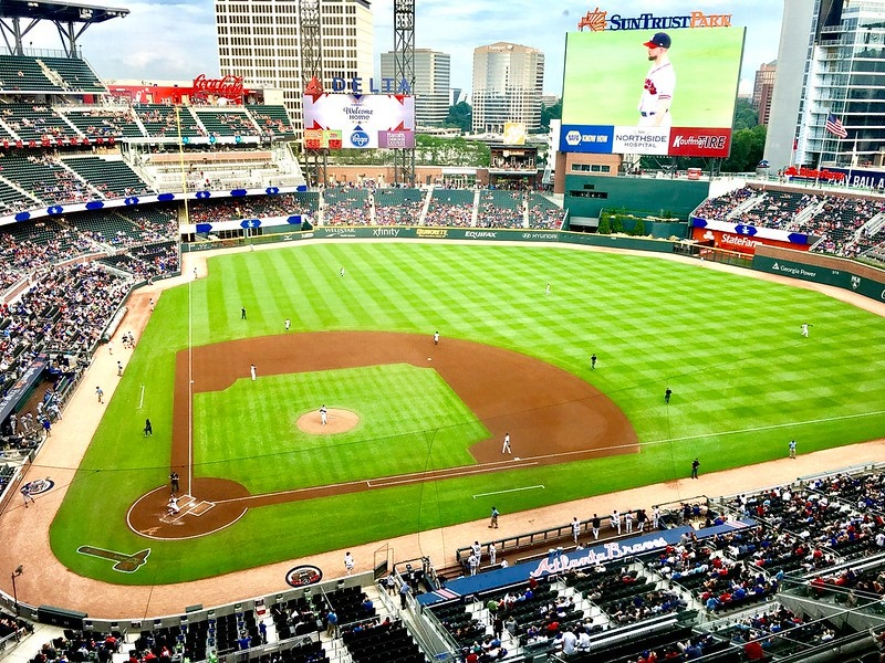 Photo of the playing field at SunTrust Park, home of the Atlanta Braves.