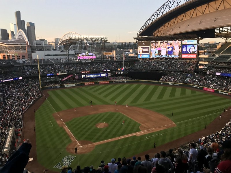Photo of the playing field at T-Mobile Park during a Seattle Mariners game.