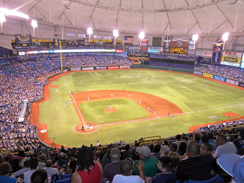 Photo of the playing field at Tropicana Field during a Tampa Bay Rays game.