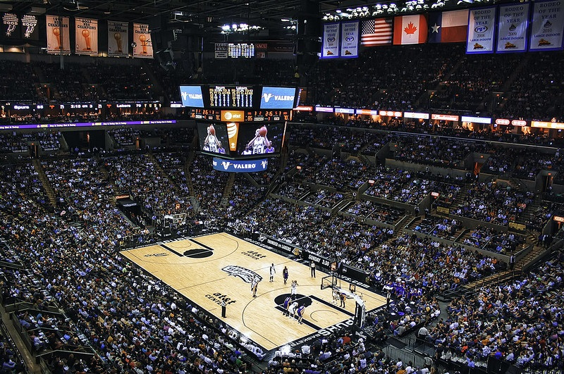 View from the upper level of the AT&T Center during a San Antonio Spurs game.