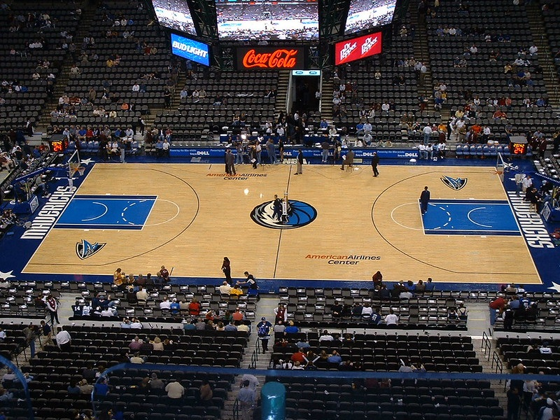 Photo of the court at the American Airlines Center during a Dallas Mavericks game.