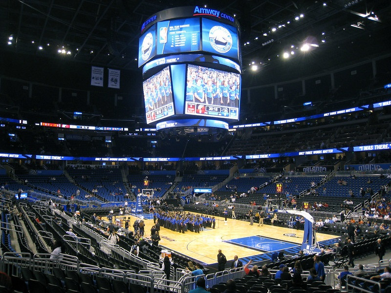 View of the court at the Amway Center, home of the Orlando Magic.