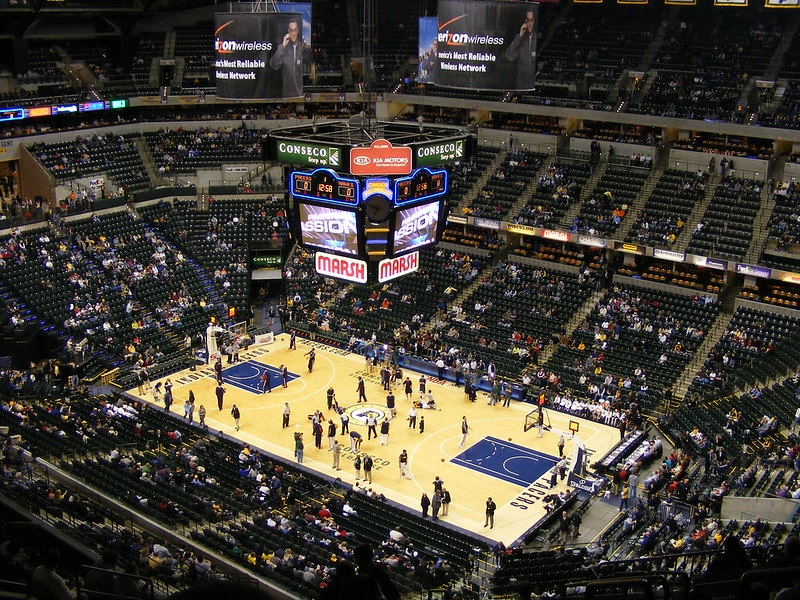 View from the upper level of Bankers Life Fieldhouse during an Indiana Pacers game.