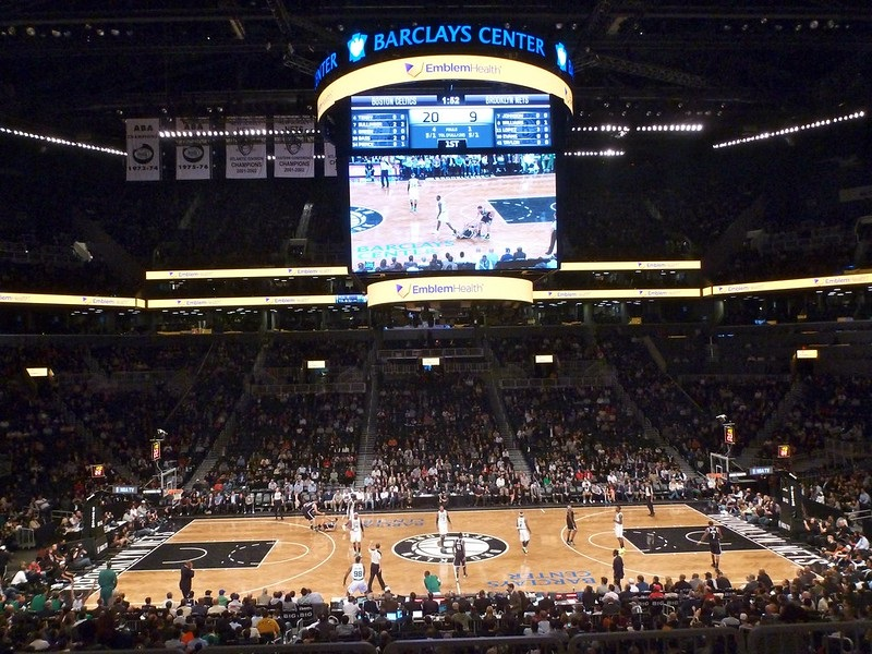 View of the court at the Barclays Center during a Brooklyn Nets game.