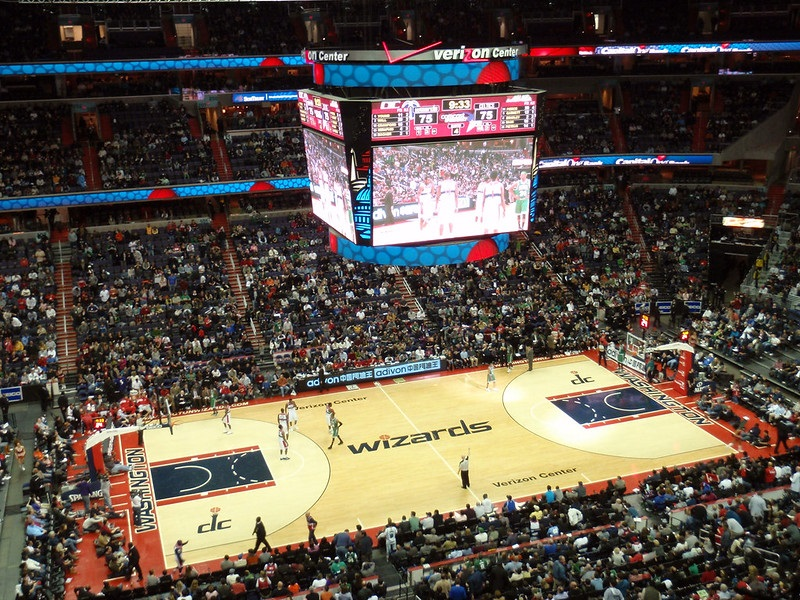 View from the upper level of Capital One Arena during a Washington Wizards game.