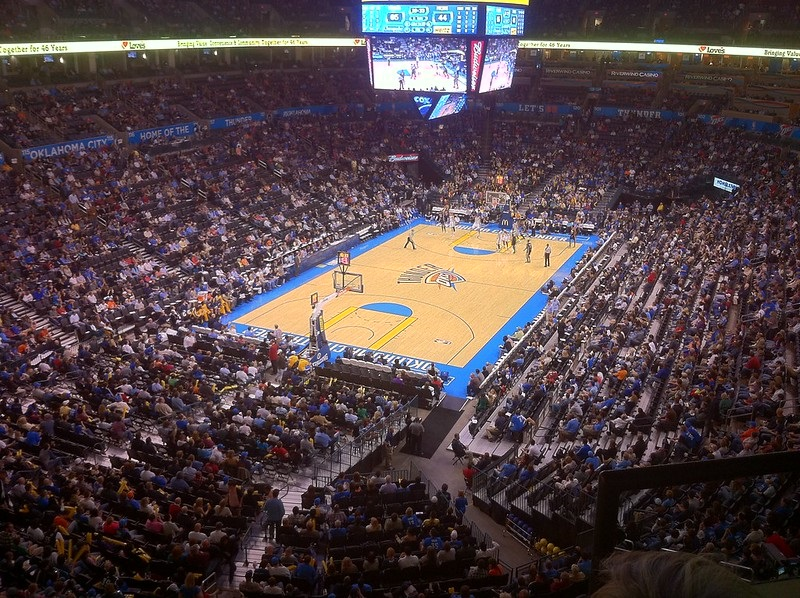 View from the upper level of Chesapeake Energy Arena during an Oklahoma City Thunder game.