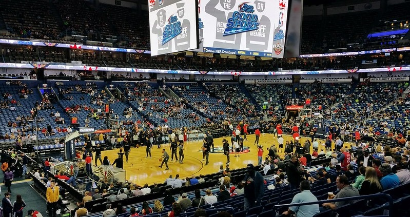 Photo taken from the lower level of the Smoothie King Center during a New Orleans Pelicans home game.