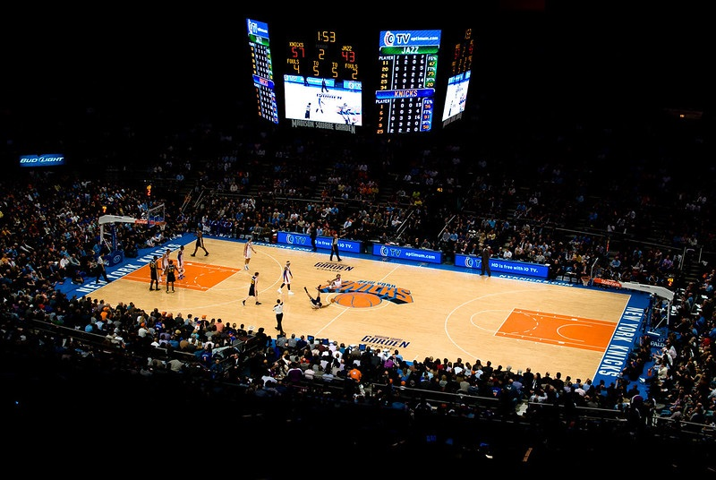 Photo of the court at Madison Square Garden during a New York Knicks game.