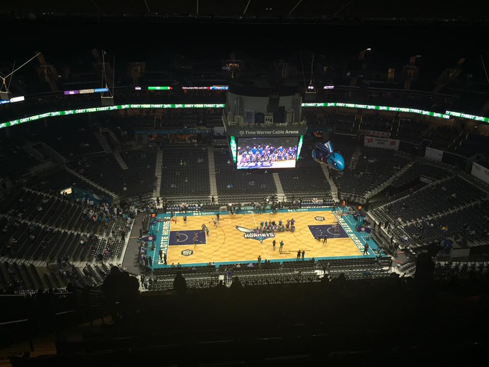 View from the upper level of the Spectrum Center during a Charlotte Hornets game.