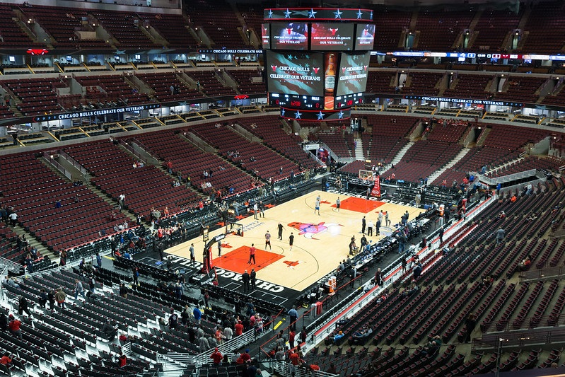Photo of the court at the United Center during a Chicago Bulls game.
