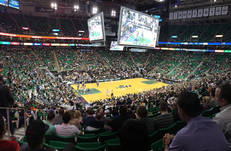 View from the lower level of Vivint Smart Home Arena during a Utah Jazz game.