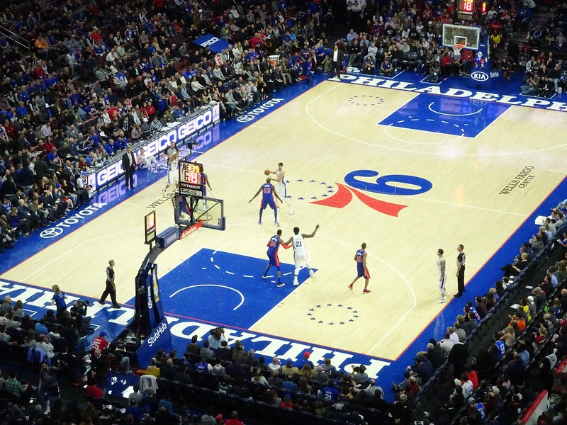 View from the upper level of the Wells Fargo Center during a Philadelphia 76ers game.