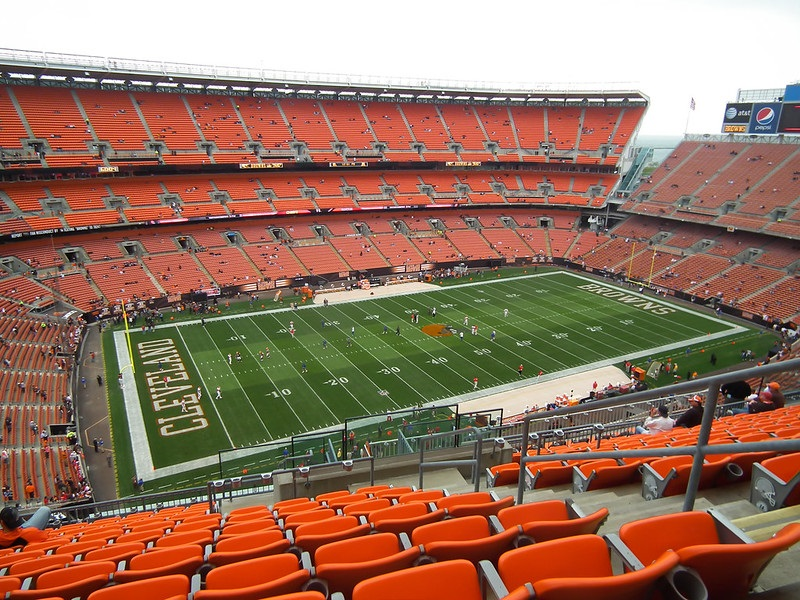 View from the upper level of FirstEnergy Stadium, home of the Cleveland Browns.