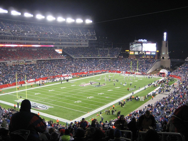 Photo of Gillette Stadium, home of the New England Patriots.