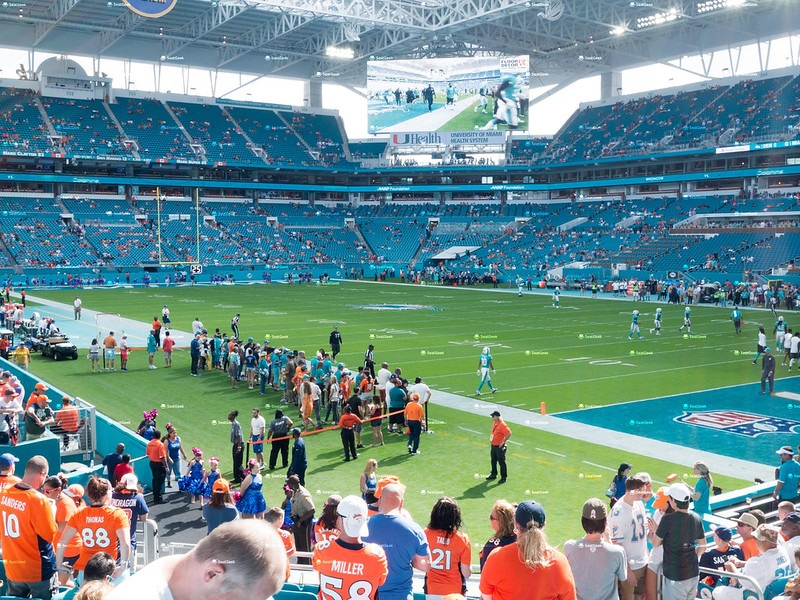 Photo of the playing field at Hard Rock Stadium, home of the Miami Dolphins.