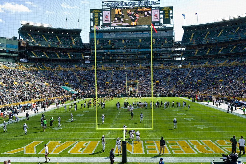 View from the lower level of Lambeau Field during a Green Bay Packers game.