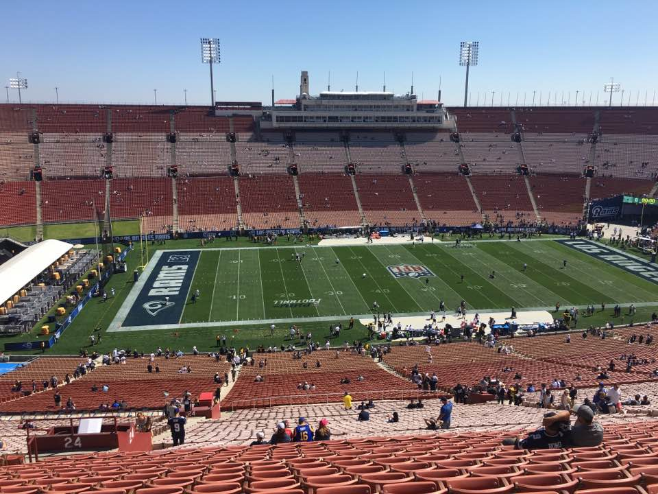 Photo of the field at Los Angeles Memorial Coliseum, home of the Los Angeles Rams.
