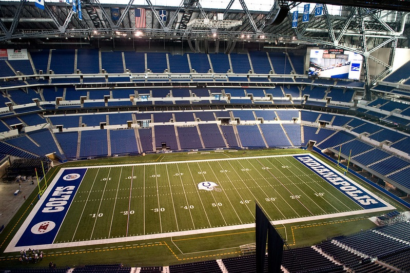 Photo of the playing field at Lucas Oil Stadium, home of the Indianapolis Colts.