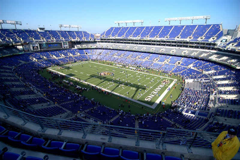 View from the upper level of M&T Bank Stadium during a Baltimore Ravens game.