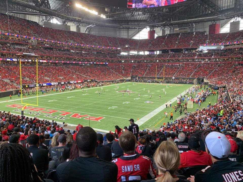 Photo of the field at Mercedes-Benz Stadium during an Atlanta Falcons game.