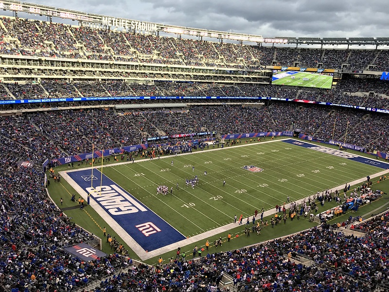 Photo of the field at Metlife Stadium during a New York Giants game.