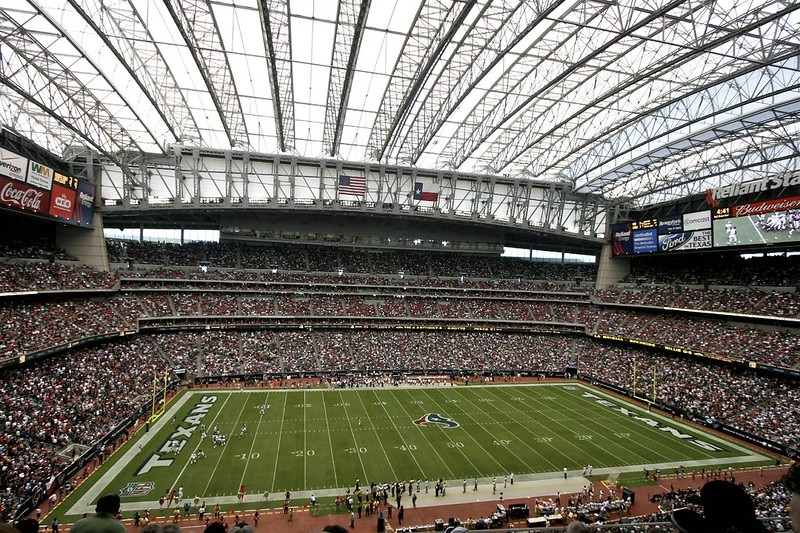 Photo of the playing field at NRG Stadium, home of the Houston Texans.