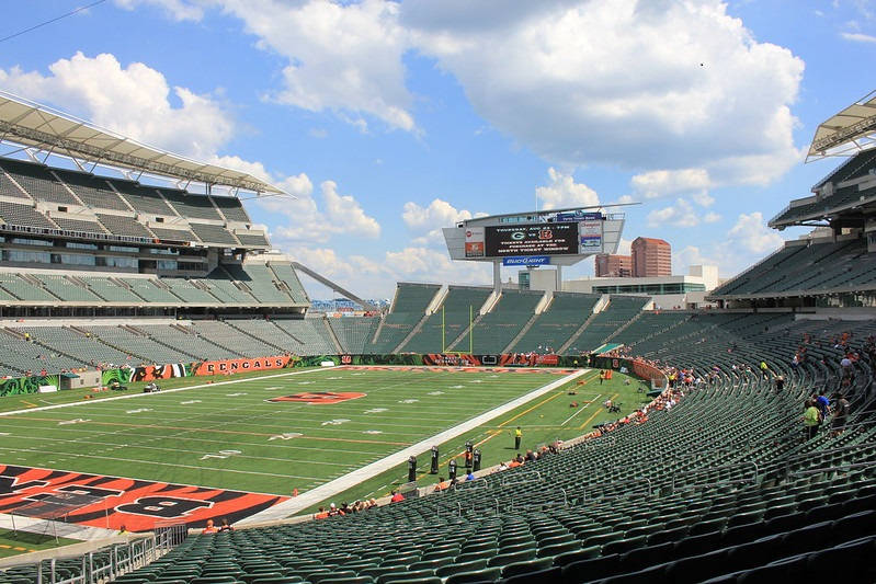 View of the playing field at Paul Brown Stadium, home of the Cincinnati Bengals.