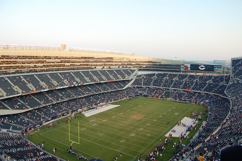 View from the upper level at Soldier Field during a Chicago Bears game.
