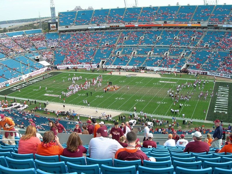 Photo of the playing field at TIAA Bank Field, home of the Jacksonville Jaguars.