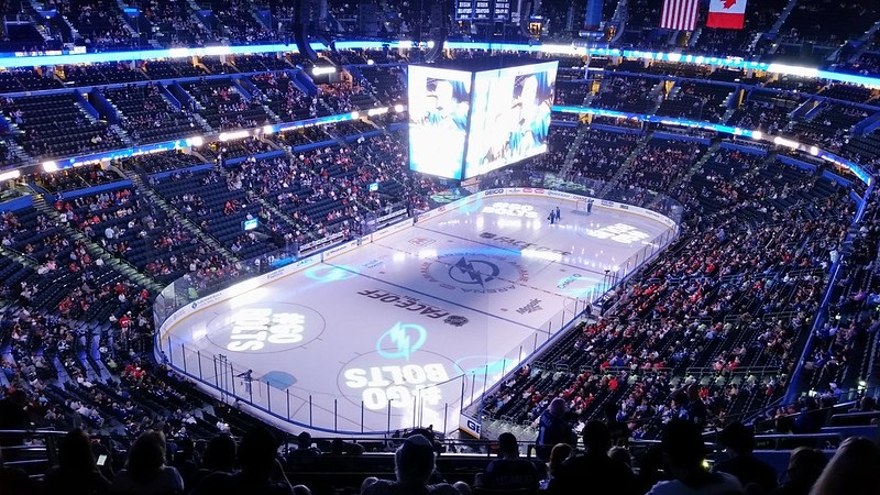 Photo of the ice at Amalie Arena during a Tampa Bay Lightning game.