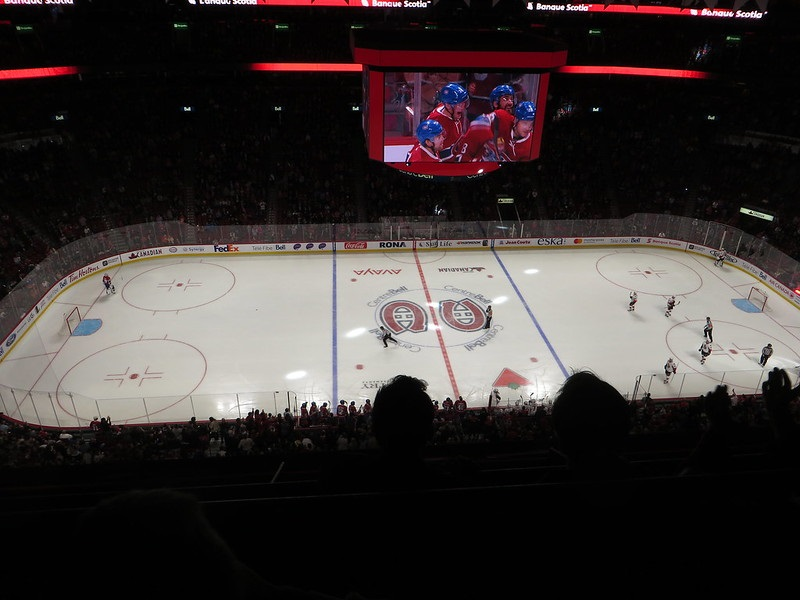 Photo of the ice at the Bell Centre during a Montreal Canadiens game.