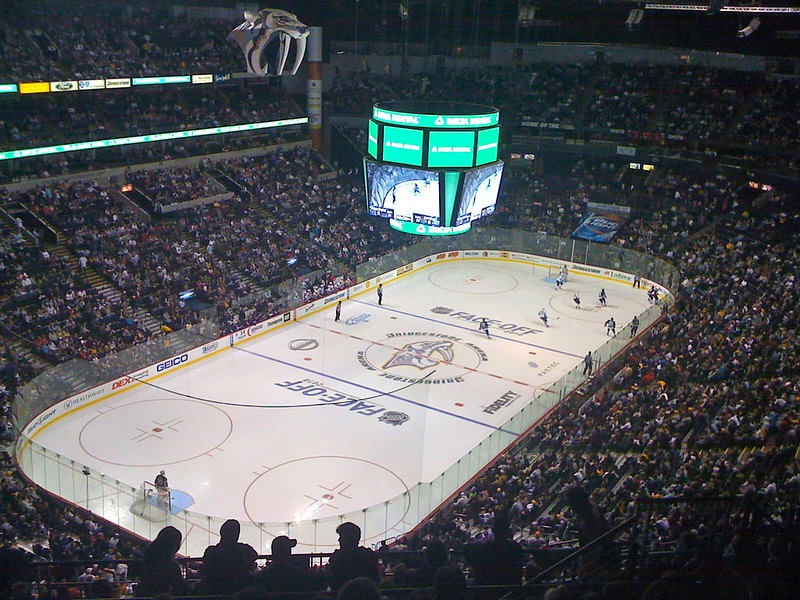 Photo of the ice at Bridgestone Arena during a Nashville Predators game.