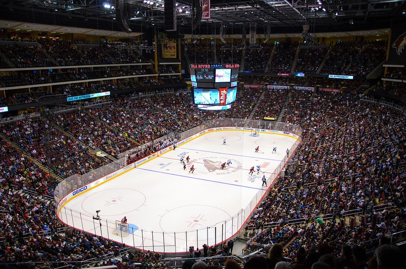 Photo of the ice at Gila River Arena during an Arizona Coyotes game.