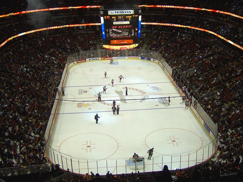 Photo of the ice at the Honda Center during an Anaheim Ducks game.