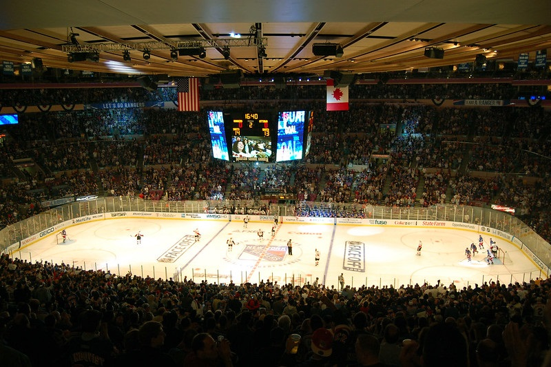 Photo of the ice at Madison Square Garden during a New York Rangers game.