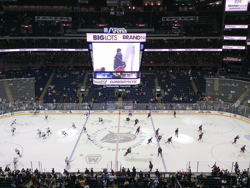Photo of the ice at Nationwide Arena during a Columbus Blue Jackets game.