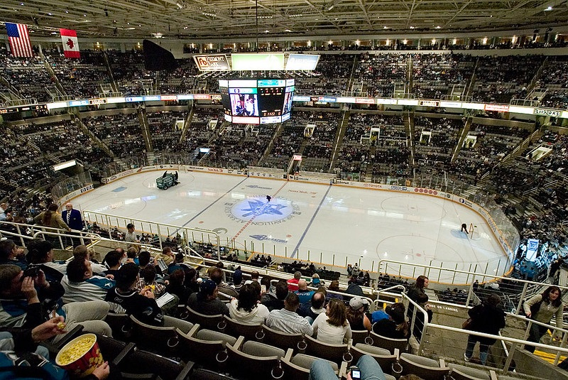 Photo of the ice at the SAP Center at San Jose during a San Jose Sharks game.