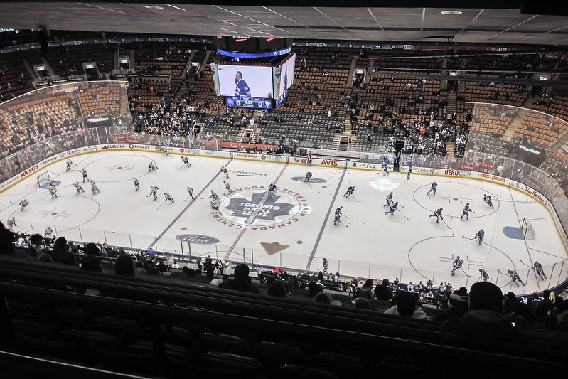 Photo of the ice at Scotiabank Arena during a Toronto Maple Leafs game.